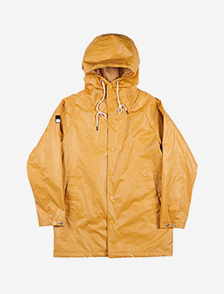 SLOGAN HOOD COAT - MUSTARD brownbreath