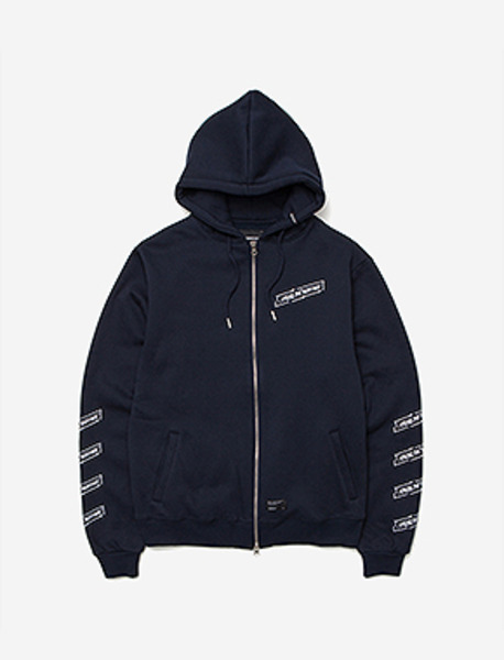 CRACK ZIP-UP HOODIE - NAVY brownbreath