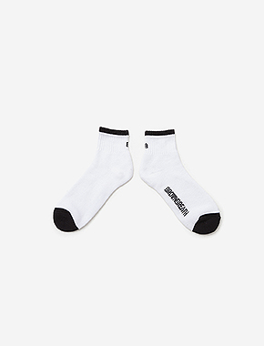 B SOCKS(QUARTER LENGTH) - WHITE brownbreath