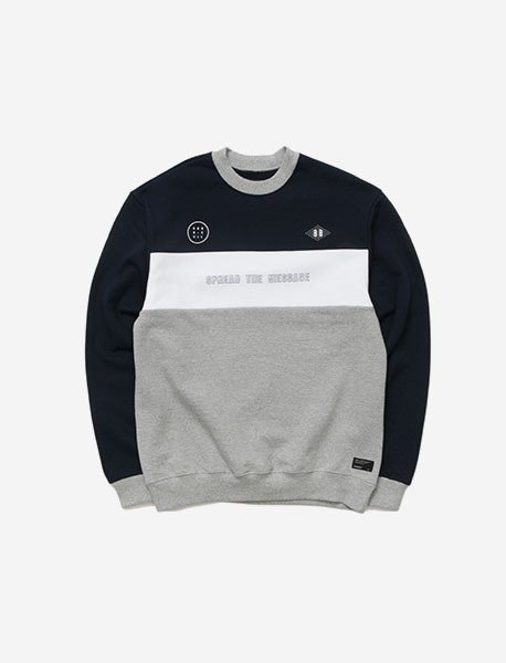 GNE CREWNECK - NAVY brownbreath