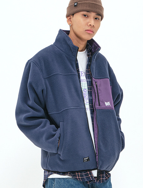 TAG REVERSIBLE FLEECE JACKET - NAVY brownbreath