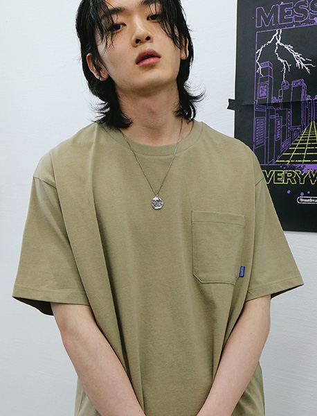 BB CIRCLE POCKET TEE - BEIGE brownbreath