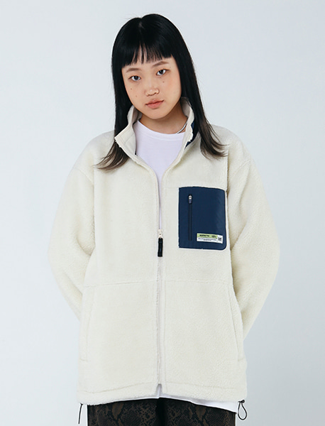 TAG BOA FLEECE JACKET - IVORY brownbreath