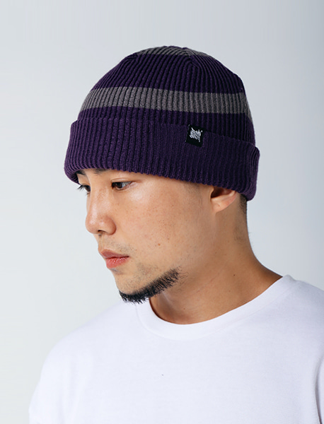 TAG STRIPE BEANIE - PURPLE brownbreath