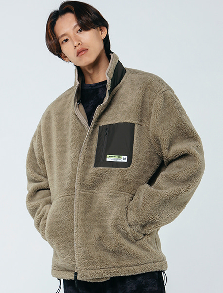 [10/6 예약발송] TAG BOA FLEECE JACKET - BEIGE brownbreath