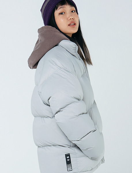 [10/13 예약발송] TAG SHORT DOWN PUFFER - GREY brownbreath